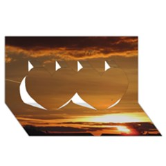 Summer Sunset Twin Hearts 3d Greeting Card (8x4) by picsaspassion