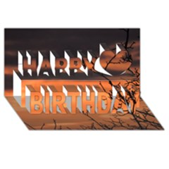 Tree Branches And Sunset Happy Birthday 3d Greeting Card (8x4) by picsaspassion