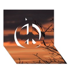 Tree Branches And Sunset Peace Sign 3d Greeting Card (7x5) by picsaspassion