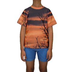 Tree Branches And Sunset Kids  Short Sleeve Swimwear by picsaspassion