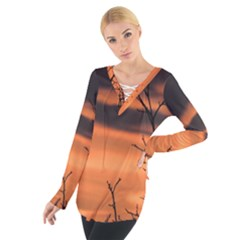 Tree Branches And Sunset Women s Tie Up Tee by picsaspassion