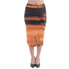 Tree Branches And Sunset Midi Pencil Skirt