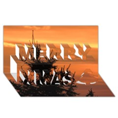 Christmas Tree And Sunset Merry Xmas 3d Greeting Card (8x4) by picsaspassion