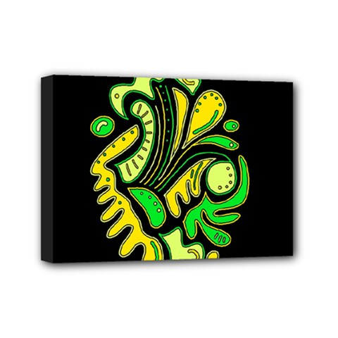 Yellow And Green Spot Mini Canvas 7  X 5  by Valentinaart