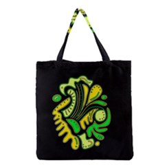 Yellow And Green Spot Grocery Tote Bag by Valentinaart