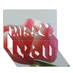 Red   White Tulip Flower Miss You 3d Greeting Card (7x5) by picsaspassion