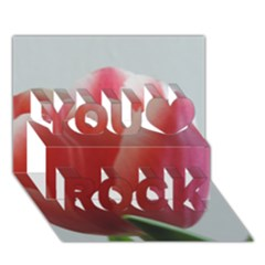 Red   White Tulip Flower You Rock 3d Greeting Card (7x5) by picsaspassion