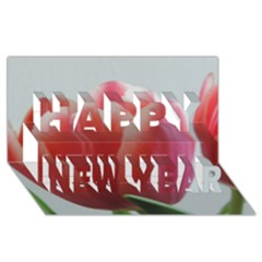 Red   White Tulip Flower Happy New Year 3d Greeting Card (8x4) by picsaspassion