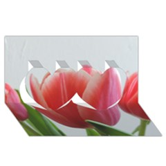 Red Tulips Twin Hearts 3d Greeting Card (8x4) by picsaspassion