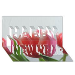 Red Tulips Happy New Year 3d Greeting Card (8x4) by picsaspassion