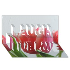 Red Tulips Laugh Live Love 3d Greeting Card (8x4) by picsaspassion