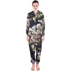 Blooming Japanese Cherry Flowers Hooded Jumpsuit (ladies)  by picsaspassion