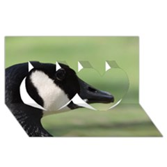 Goose, Black And White Twin Hearts 3d Greeting Card (8x4) by picsaspassion