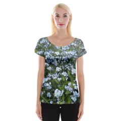 Blue Forget Me Not Flowers Women s Cap Sleeve Top by picsaspassion
