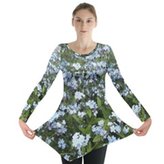 Blue Forget Me Not Flowers Long Sleeve Tunic  by picsaspassion
