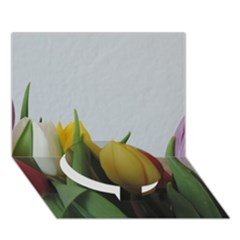 Colorful Bouquet Tulips Circle Bottom 3d Greeting Card (7x5) by picsaspassion