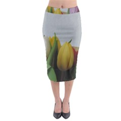 Colorful Bouquet Tulips Midi Pencil Skirt