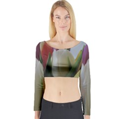 Colored By Tulips Long Sleeve Crop Top by picsaspassion