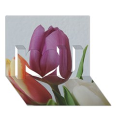 Tulip Spring Flowers I Love You 3d Greeting Card (7x5)