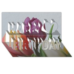 Tulip Spring Flowers Happy Birthday 3d Greeting Card (8x4) by picsaspassion