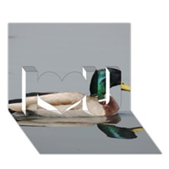 Wild Duck Swimming In Lake I Love You 3d Greeting Card (7x5) by picsaspassion