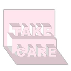 Pink Color Design Take Care 3d Greeting Card (7x5)