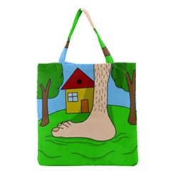 Giant Foot Grocery Tote Bag by Valentinaart