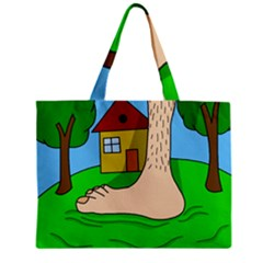 Giant Foot Zipper Mini Tote Bag by Valentinaart