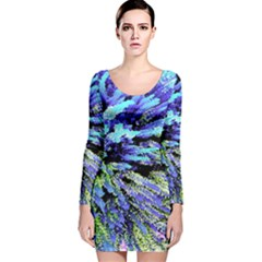 Colorful Floral Art Long Sleeve Velvet Bodycon Dress by yoursparklingshop