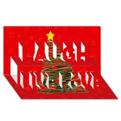 Xmas Tree 3 Laugh Live Love 3d Greeting Card (8x4)
