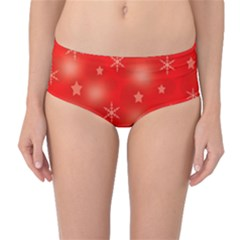 Red Xmas Desing Mid-waist Bikini Bottoms by Valentinaart