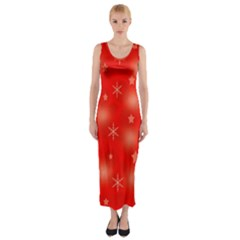 Red Xmas Desing Fitted Maxi Dress by Valentinaart