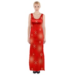 Red Xmas Desing Maxi Thigh Split Dress by Valentinaart