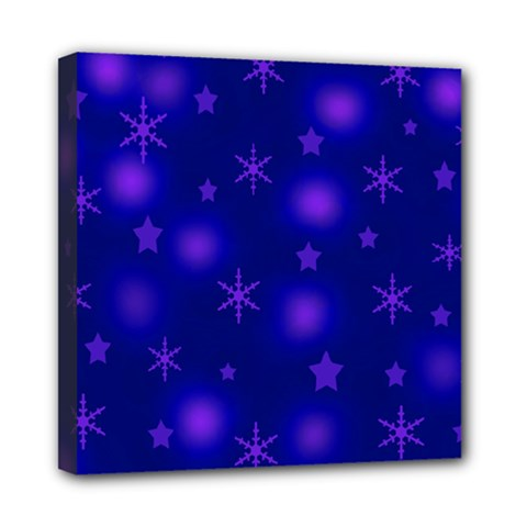 Blue Xmas Design Mini Canvas 8  X 8  by Valentinaart