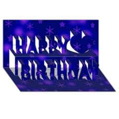 Blue Xmas Design Happy Birthday 3d Greeting Card (8x4)
