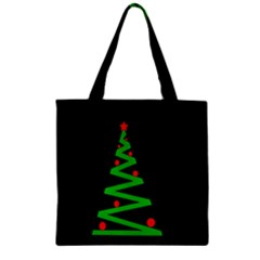 Simple Xmas Tree Zipper Grocery Tote Bag by Valentinaart