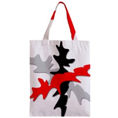 Gray, Red And Black Shape Zipper Classic Tote Bag by Valentinaart