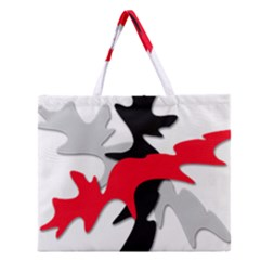 Gray, Red And Black Shape Zipper Large Tote Bag by Valentinaart