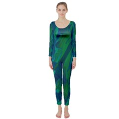 Green And Blue Design Long Sleeve Catsuit by Valentinaart