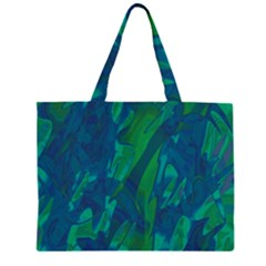Green And Blue Design Zipper Large Tote Bag by Valentinaart