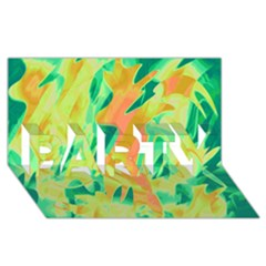 Green And Orange Abstraction Party 3d Greeting Card (8x4) by Valentinaart