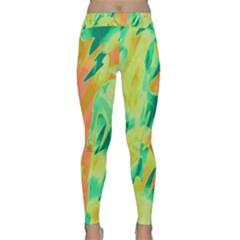 Green And Orange Abstraction Yoga Leggings