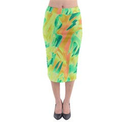 Green And Orange Abstraction Midi Pencil Skirt by Valentinaart
