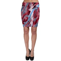 Blue And Red Smoke Bodycon Skirt by Valentinaart