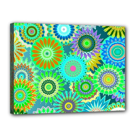 Funky Flowers A Canvas 16  X 12  by MoreColorsinLife