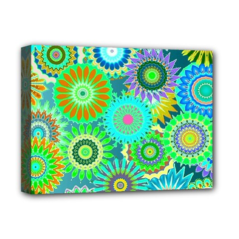 Funky Flowers A Deluxe Canvas 16  X 12   by MoreColorsinLife