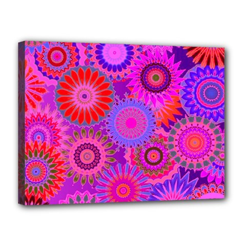 Funky Flowers C Canvas 16  X 12  by MoreColorsinLife