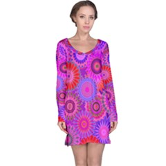 Funky Flowers C Long Sleeve Nightdress by MoreColorsinLife