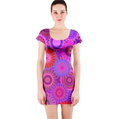 Funky Flowers C Short Sleeve Bodycon Dress by MoreColorsinLife