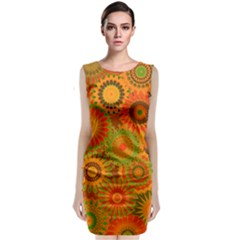 Funky Flowers D Classic Sleeveless Midi Dress